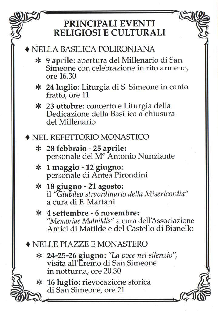 programma Millennio San Simeone
